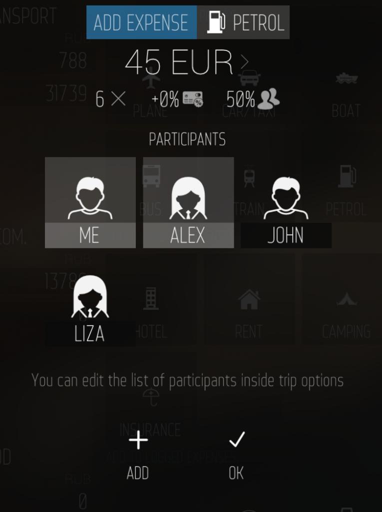 TripBudget participants select